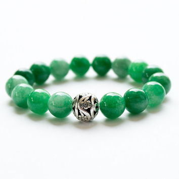 GREEN JADE BRACELETS Women accessories 10 mm Charm Bracelet Gemstone Lucky Bright Green Stone