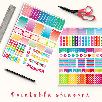 50% OFF Colorful Love Stickers Printable Planner Stickers Erin Condren Box Stickers Page Flags Weekend Banners To Do Stickers Weekly Kit