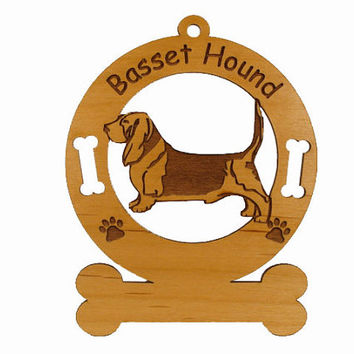 1480 Basset Hound Standing Personalized Ornament