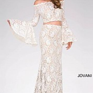 Ivory long fitted two piece off the shoulder lace prom dress.