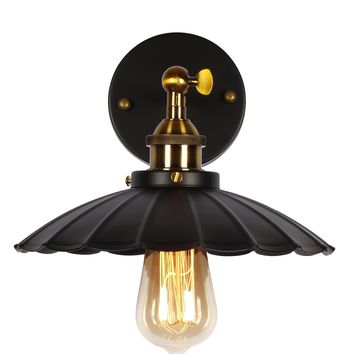 Black Wall Sconce, Industrial Edison Vintage Wall Light Antique Retro Lamp with Iron Lotus Leaf Shade
