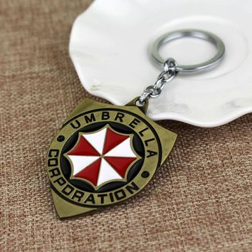 Vintage Antique Bronze Resident Evil Keychain Hot Movie White and Red Enamel Key Ring Newest Umbrella Corporation Key Holder