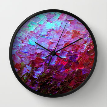 MERMAID SCALES - Colorful Ombre Abstract Acrylic Impasto Painting Violet Purple Plum Ocean Waves Art Wall Clock by EbiEmporium