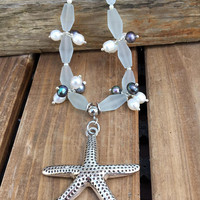 Seafoam Seaglass Necklace Starfish Necklace Freshwater Pearls Cultured  Sea Glass Nautical jewelry
