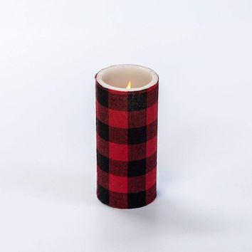 6 IN RED BUFFALO CHECK PILLAR CANDLE WITH TIMER