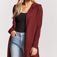 Ribbed Knit Hooded Longline Cardigan