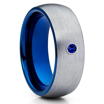 Blue Tungsten - Men's Wedding Band - Blue Sapphire Ring - Gray Ring