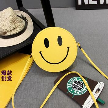 Women Messenger PVC Bags Face Smiley Emoji Packages Summer Fashion Shoulder Round Yellow Crossbody Beach Bags