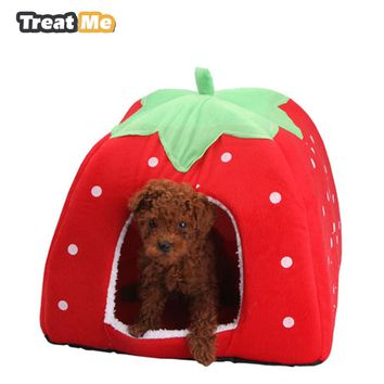 Soft Dog House,Strawberry Shape,Lovely Kennel,Warm,Portable FREE SHIPPING!