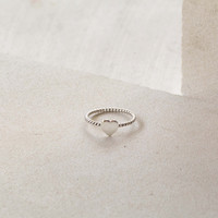 Tiny Heart Ring with Rope Band in Sterling Silver