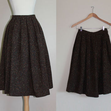 1950s Brown Confetti Fleck Wool Skirt by Charm of Hollywood // Small