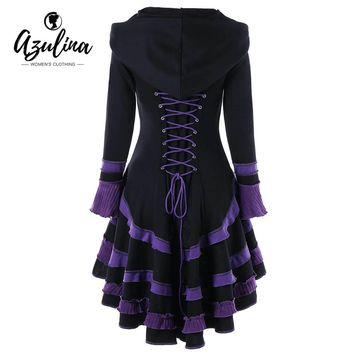 Buckle High Low Lace-up Coat Winter Fashions Hooded Women Coat Outerwear Gothic Coats