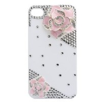 MinisDesign 3d Bling Crystal Rhinestone Flower Case Cover for Apple Iphone 4 and 4s-Pink