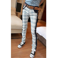 2013 Korean Classic Men's Checked Jeans Plaid Skinny Pants Stright Leg Trousers