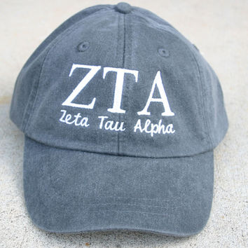 Zeta Tau Alpha with script baseball cap