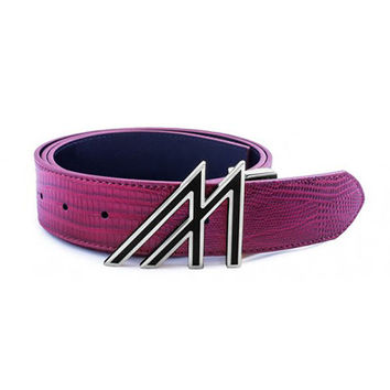 Mint Lizard Belt Burgundy Platinum Lacquer M Buckle