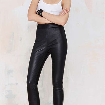 Black Bodycon Leather Pants with Metal Zipper