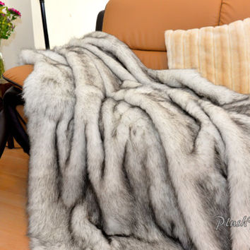 Plush Exotic Black-Brown Tip Polar Bear Huskie Faux Fur Throw Modern or Lodge Cabin Comforters Decor Custom USA Handmade