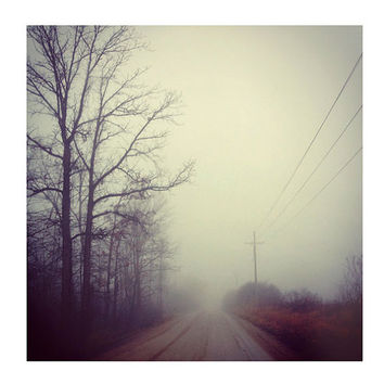 Landscape Photography, Foggy Drive, 8x8 Print, Ethereal Photo, Sage Green Color, Morning Fog, Trees, Winter Landscape