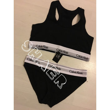 Ck calvin klein fashion BLACK underwear set lingerie bra and thong pants stretch jersey. Size S M L 6 8 10 12
