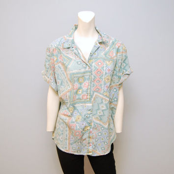 Vintage 1980's Pastel Abstract Patterned Button Up Blouse Shirt Teal Size Large Geometric Size Large Short Sleeved with Shoulder Pads