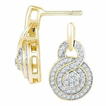 10kt Yellow Gold Women's Round Diamond Concentric Circle Cluster Earrings 1-2 Cttw - FREE Shipping (US/CAN)