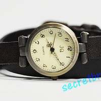 Black Vintage Leather Bracelet Wrap Watch, Handmade Women's lady, girl watch, band watches, quartz wrist watch, women watch