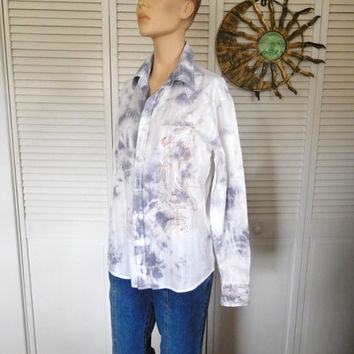 Button Down Shirt Cowgirl Blouse Bleached Tie Dyed Blue White Shirt Long Sleeve Boyfriend Shirt Hippie Clothes Embroidered Mens Size Small