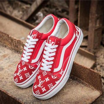 Vans x Supreme x Louis Vuitton Red Casual Sport Shoes Sneakers