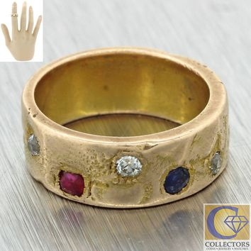 1910 Antique Art Nouveau 14k Gold Diamond Ruby Sapphire Wide Band Faces Ring