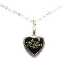 Queens Anne's pendant, pressed flowers in resin, Sterling Silver necklace, Black Heart charm, Real flower jewelry