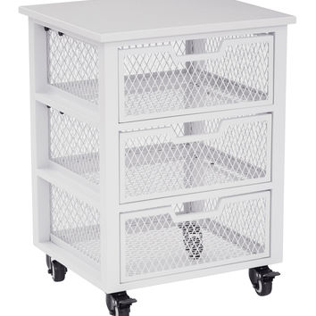 Office Star Clayton 3 Drawer Rolling Cart in White Metal Finish Frame Fully Assembled [CLY03AS-11]