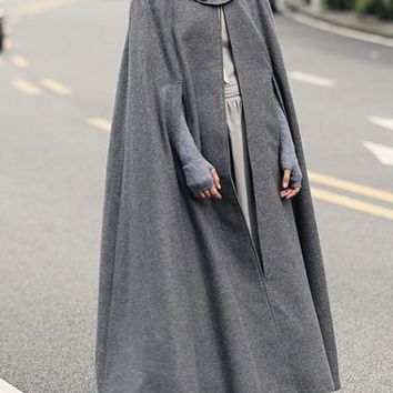 Grey Irregular Hooded Draped Elegant Cape Wool Coat