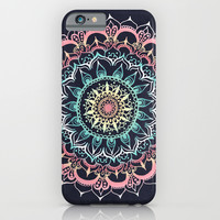 Pink, Cream & Soft Turquoise Glow Medallion on Navy iPhone & iPod Case by Tangerine-Tane