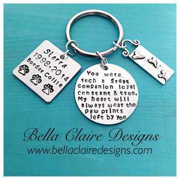 Pet Memorial Keychain, Hand Stamped Pet Memorial Jewelry, Pet Remebrance, Dog Memorial, Cat Memorial, Loss of a Pet, Memorial Jewelry, Remem