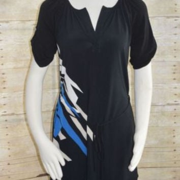 New York & Co Sz Small Black Dress Blue/Beige Print Banded Hem belted