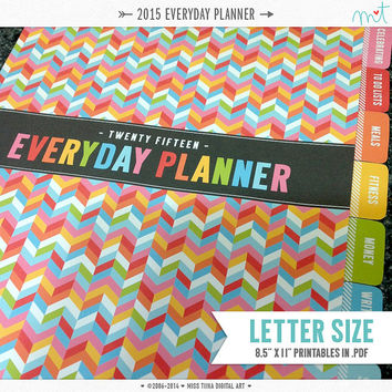 "2015 LS Everyday Planner Printables PDF - 8.5"" x 11"" A4 Letter Size - instant download"