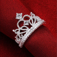 Women 925 Silver Plated Princess Wedding Band Zircon Crown Ring Jewelry