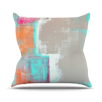 "CarolLynn Tice ""Gifted"" Gray Aqua Throw Pillow"