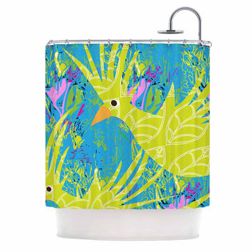 """Pattern Muse """"Tropical Fly-by"""" Teal Green Shower Curtain"""