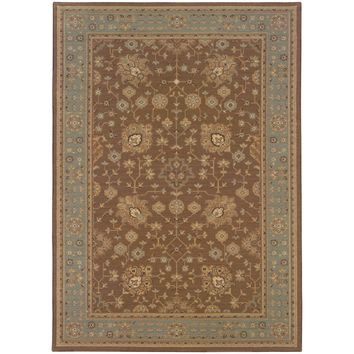 Nadira Tan Blue Oriental Persian Traditional Rug