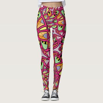 Kaleidoscopic Multicolored Abstract Pattern Leggings