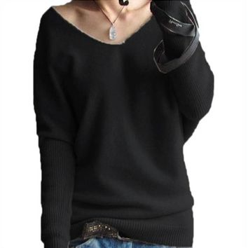 2016 New Winter Spring Cashmere Women Sweater Fashion Sexy V-neck Loose 100% Wool Sweater Batwing Sleeve Plus Size PulloverSW351