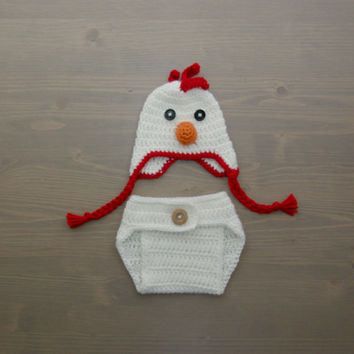 Crochet Chicken Costume, Crochet Chicken Set, Diaper Cover Set, Crochet Baby Hat, Newborn Photography Prop, Photo Prop, Baby Chicken Costume