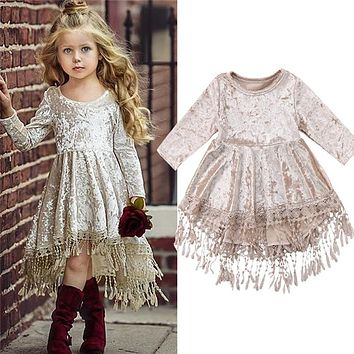 Baby Dress 2018 New Pageant Princess Kids Baby Girl Dress Velvet Tassel Long Sleeve Party Dress Girls Easter Dresses vestidos
