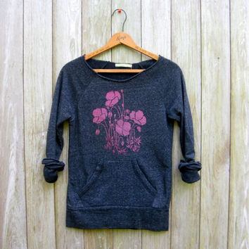can't wait for spring Poppies Sweatshirt, Floral Sweater, Gardening Shirt, S,M,L,XL