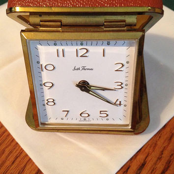 Alarm clock / Vintage Wind up clock  / Travel Clock / for power outages / camping trips / Clock with all its paperwork / Spring Break Clock