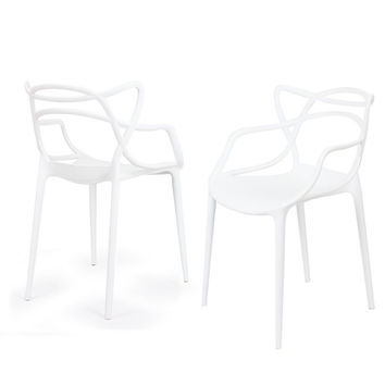 Designer Abstract Stacking Dining Chairs (White) - Set of 2