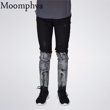 Moomphya Men Distressed Ripped holes jeans zipper hip hop jeans men Straight slim fit skinny biker jeans ripped jeans for men
