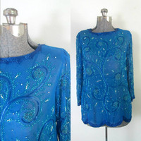 Blue Sequined Beaded Tunic Top Micro Mini Dress